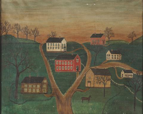 An image showing a forged painting of a 19th century village scene signed and dated 'Sarah Honn May 5, 1866 A.D.'