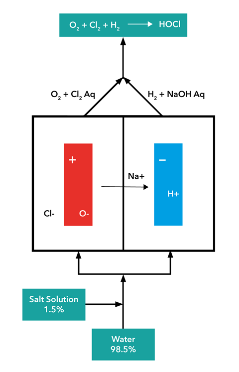 An image showing the injection of salt into softened water flow