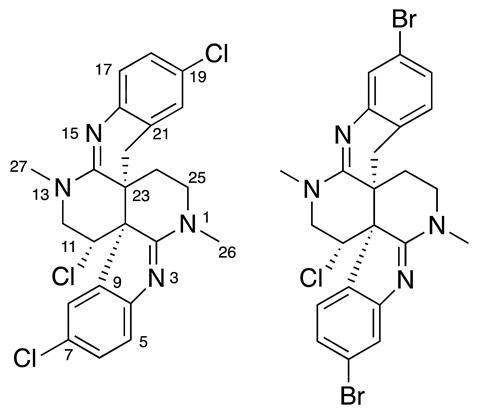Structures of caulamidines A (left) and B (right)