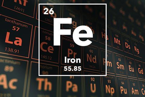 Periodic table of the elements – 26 – Iron