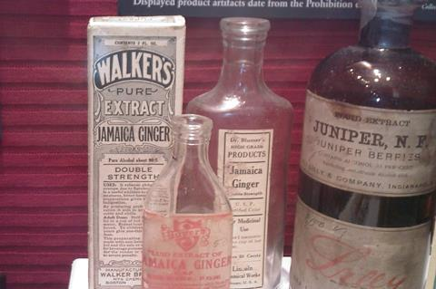 Bottles and packaging for 'Jamaica ginger extract'
