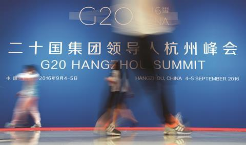 G20 summit logo in the media centre at the G20 summit in Hangzhou, China
