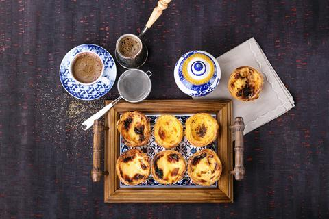 A picture of Portugese custard tarts, known as pastel de nata