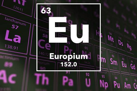 Periodic table of the elements – 63 – Europium