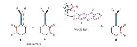 A scheme showing a light-activated deracemization process