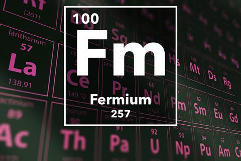 Periodic table of the elements – 100 – Fermium