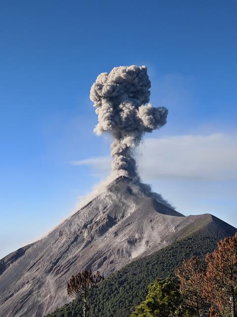 Close view of Fuego volcano eruption