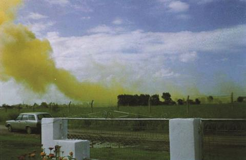 Atranor chemical plant in Buenos Aires, Argentia showing trifluralina gas escaping