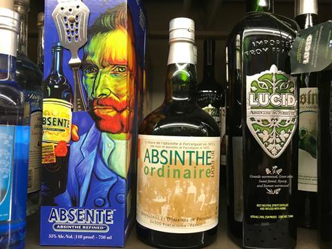 New Absinthe bottles from France on display in a retail store