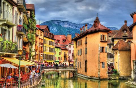 View of the old town of Annecy, France