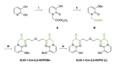 An image showing the synthesis procedure for 5LIO-1-Cm-3,2-HOPO