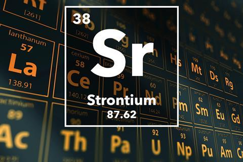 Periodic table of the elements – 38 – Strontium