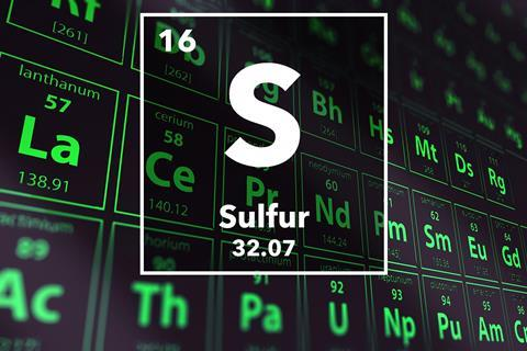 Periodic table of the elements – 16 – Sulfur