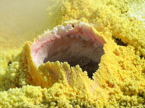 Sulfur occurs in fumaroles such as this one in Vulcano, Italy