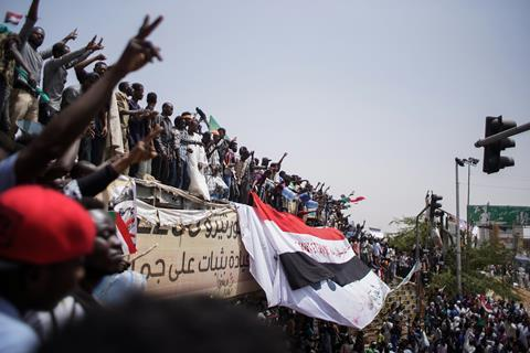 An image taken during a protest in Sudan