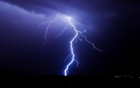 Lightning in the sky during a summer storm