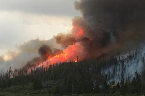 Smoke billows from the Beaver Creek Fire west of Walden, Colorado, in 2016.