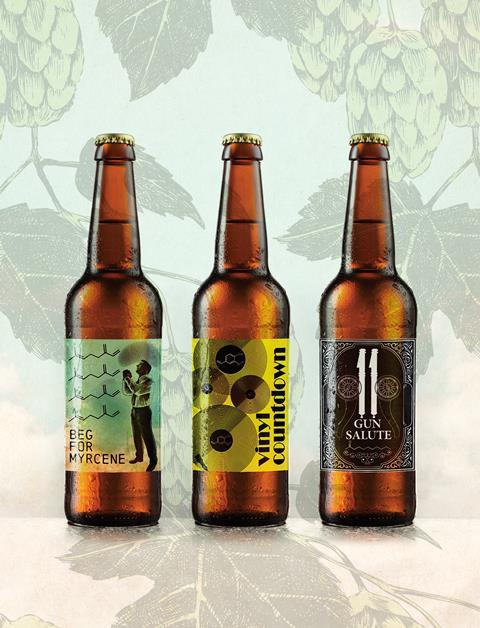 Bottled beer with chemically suitable names