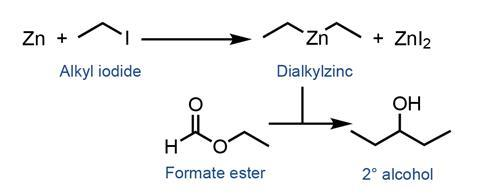 A scheme showing the conversion of formate ester into a tertiary alcohol catalysed by dialkylzinc made in situ