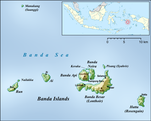 Map of the Banda Islands, Indonesia