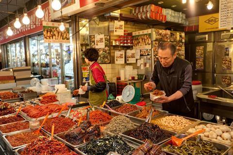 Kimchi market stall, Seoul