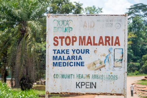 An image showing a Stop Malaria sign in Liberia