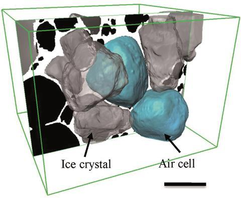 3D rendered image ice cream microstructure