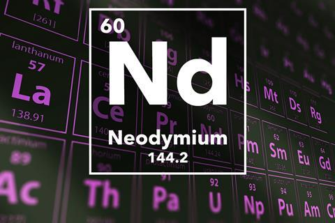 Periodic table of the elements – 60 – Neodymium