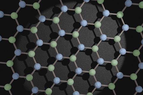 An image showing the structure of hexagonal boron nitride