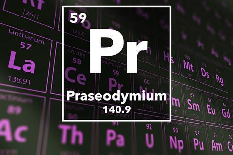 Periodic table of the elements – 59 – Praseodymium