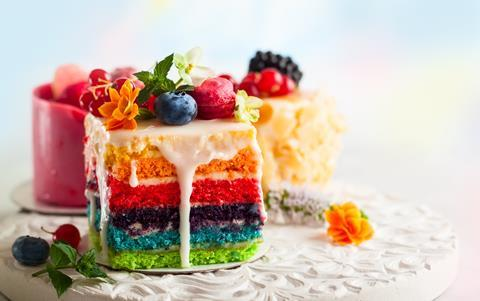 Slices of colourful cakes