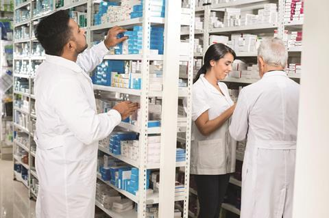 Indian pharmacy, pharmaceutical drug shelves - Index