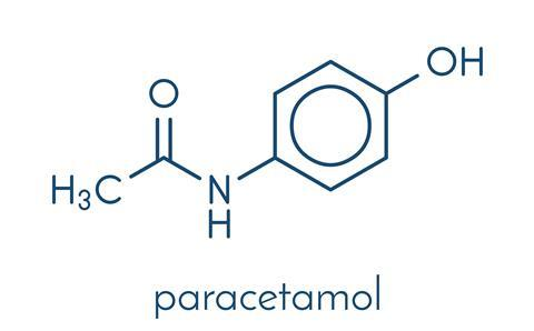 Paracetamol (acetaminophen) analgesic drug molecule