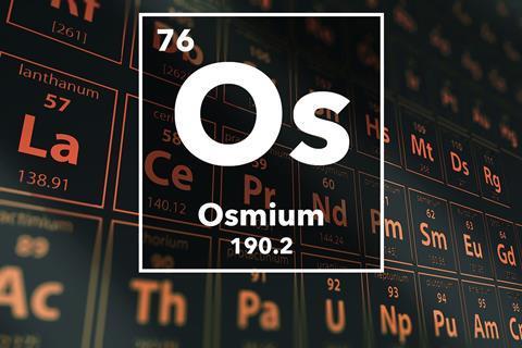 Periodic table of the elements – 76 – Osmium