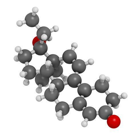 Tetrahydrogestrinone (THG) anabolic steroid molecule