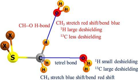 Ability of IR and NMR spectral data to distinguish between a tetrel bond and a hydrogen bond