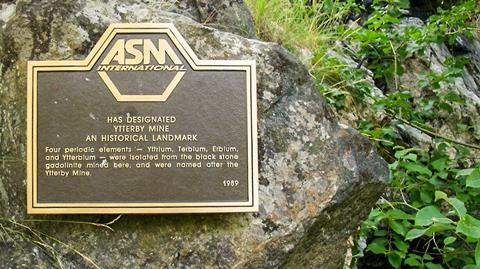 Memorial plaque of the ASM International at Ytterby mine