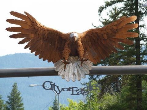 An Eagle marks the gateway to Libby, Montana