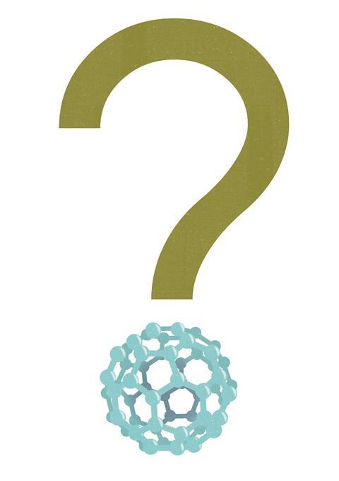 An illustration of a question mark with a buckminsterfullerene
