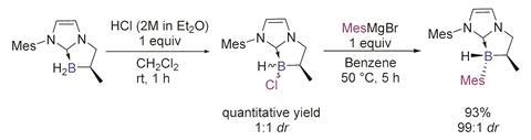 A scheme showing diastereoselective two-step preparation of chiral NHC-boranes