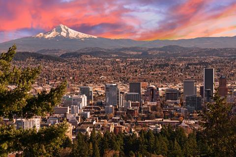 An aerial photograph of Portland, Oregon