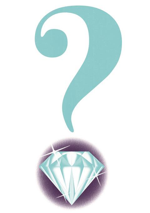 An illustration of a question mark with a diamond