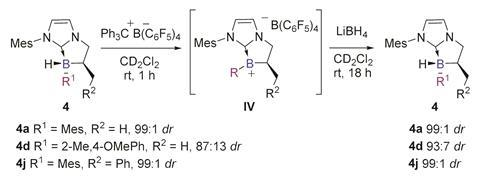 A scheme showing that the chiral boron centre can be regenerated from a planar borenium intermediate