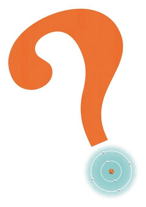 An illustration of a question mark with an atom