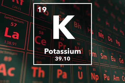 Periodic table of the elements – 19 – Potassium