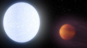 Image of KELT-9b orbiting its host star, KELT-9