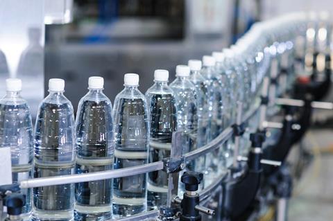 PET plastic bottles on a production line