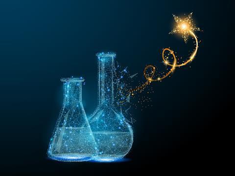 Chemistry superstar, concept illustration