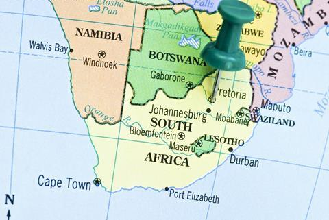A picture showing the map of South Africa