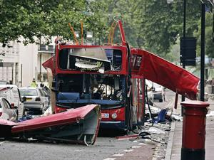 A bus destroyed by the London terrorism attack in 2005